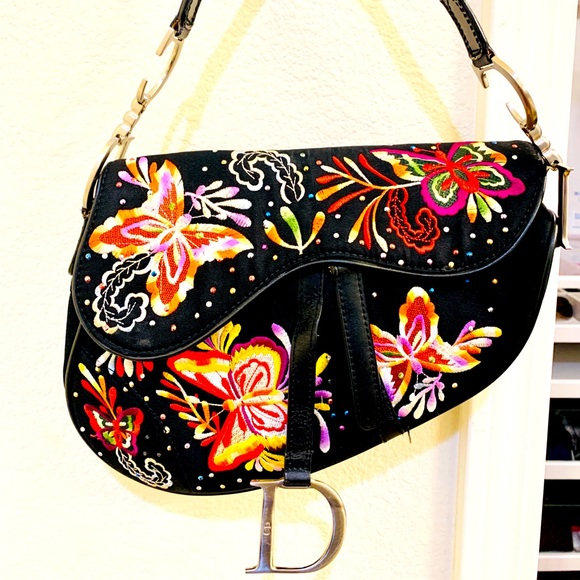 Christian Dior Embroidered Butterfly Saddle Bag